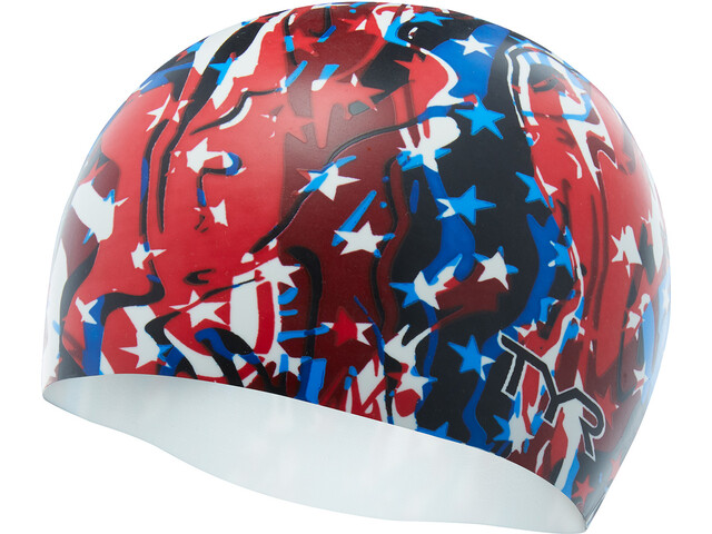 TYR Firecracker Bonnet de natation, red/white/blue